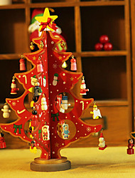 12.8inch Christmas Ornaments Christmas Tree Red ,Wooden
