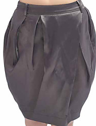 Popular Style Solid Color Skirt Gray