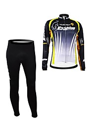 KOOPLUS Unisex Spring Autumn Customized Cycling Clothing Long Sleeve Jersey Pants Polyester Cycling Suit--Black+Green