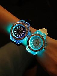 Mulheres Relógio de Moda Quartz LED Silicone Banda Brilhante Preta / Branco marca-