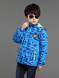 Boy's Print Casual Sport Jacket(Removeablce Hat)
