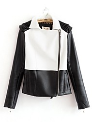 Faux Leather Jacket Women's Long Sleeve Turndown PU Jacket(More Color)