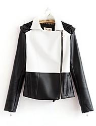 de cobertura de manga larga chaqueta de la PU de las mujeres de la chaqueta de cuero de imitación (más color)