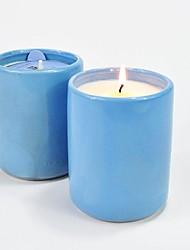 aromall® soja Bougie parfumée 250g jasmin&25h menthe sauvage de support en céramique bleu tasse durée de combustion