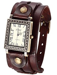 Women's Vintage Style Double Leather Band Quartz Analog Bracelet Watch (Assorted Colors)