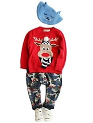 Red Scarfed Reindeer Sweater Kids Christmas Costume(Style B Scarfed Reindeer)