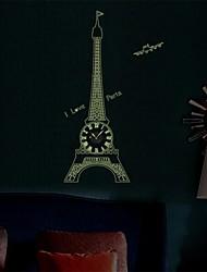 Wall Clock adesivos adesivos de parede, grandes luminosos Torre Eiffel parede pvc adesivos