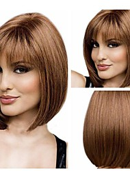 Women's Fashion Brown Short Hair Wig Scorpio Wig  with Full Bang