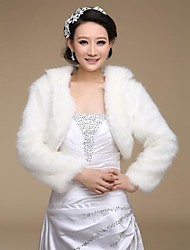 Wedding  Wraps / Fur Wraps Coats/Jackets Long Sleeve Faux Fur Ivory Wedding / Party/Evening Open Front
