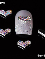 10pcs Colorful Rhinestone Heart 3D Alloy Nail Design  DIY Nail Art Decoration