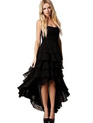DMI ™ без бретелек женщин lavered трепал ступенчатые подол платья