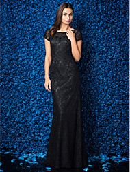 Formal Evening Dress - Black Sheath/Column Jewel Floor-length Lace