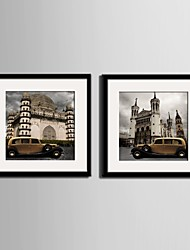 Architecture Framed Canvas / Framed Set Wall Art,PVC Black Mat Included With Frame Wall Art