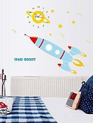 Wall Clock Stickers Wall Decals, Cartoon Luminous Rocket PVC Wall Stickers