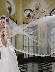 Simple & Elegant One-Tier Small Flower Lace Embroidery Edge Bridal Veil