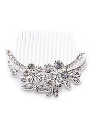 Silver Plated Flower Crystal Bridal Tiara Hair Slide Comb Pin Women