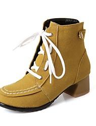 Черный / Желтый / Серый / Бежевый - Женская обувь - Для праздника - Искусственная кожа - На толстом каблуке -С круглым носком / Модная