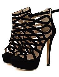 Sandales ( Noir ) - Chaussons / Bottines - Chaussures à talons/Spartiates/Bout pointu/Bout ouvert/Bottes - Talon aiguille - Similicuir-