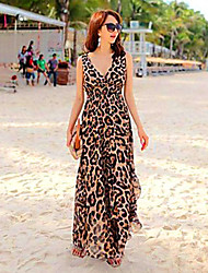 Women's Sexy Leopard Print Deep-V Neck Sleeveless Asymmetrical Maxi Dress