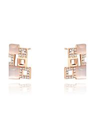 mode roxi forme carrée exquise champagne zircon alliage Stud plaqué or des femmes (1 paire)