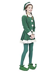 Green Elf Girl Santa Suit Kids Christmas Costume