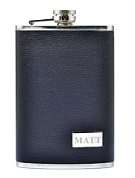 Personalized Gift Black 9oz Stainless Steel Leather Hip Flask