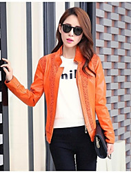 Leather Jacket Women's Standing Collar Jacket PU Jacket(More Color)
