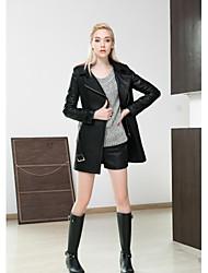 Fur Coat Women's Long Trench Coat Suitable PU Overcoat