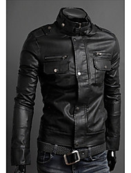 first brand Men's Stand Coats & Jackets , PU Long Sleeve Casual