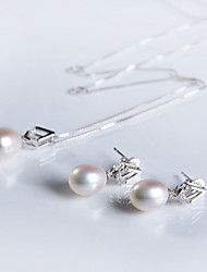 Women's Sterling Silver Jewelry Set Pearl