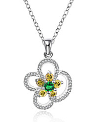 New Design Elegant 925 Sterling Silver Jewelry Flower Pave Colorful Zircon Pendant Necklace for Women