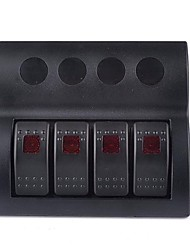 Marine Boat Caravan 4 Gang LED Rocker Circuit Breaker Switch Panel
