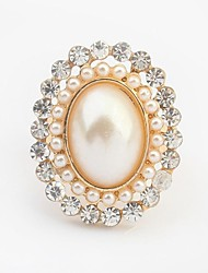 Women's Noble Pearls Beaded Rhinestone Pave Oval Shape Statement Ring