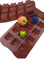 15 Loch quadratische Form Kuchen Eis Gelee Schokoladenformen, Silikon 21 x 10,5 x 2,5 cm (8,3 x 4,1 x 1.0inch)