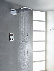 Contemporary Chrome Finish Thermostatic LED Digital Display Shower Faucet (Showerhead + Handshower)