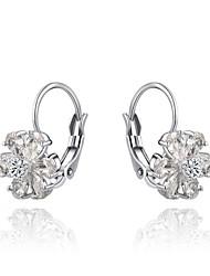 la mode féminine clair à cinq pétales cristaux de forme clip alliage de zircon boucle d'oreille en argent (1 paire)