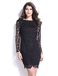 Women's Sexy Dress Above Knee Long Sleeve Black Polyester All Seasons