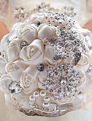 Hot Hand Made Pearl Rhinestones Artificial Flower Bouquets White Silk Rose Flower Bride Bridal Luxury Wedding Bouquet