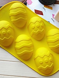 6 Hole Egg Shape Cake Mold Ice Jelly Chocolate Mold,Silicone 32×19×3 CM(12.6×7.5×1.2 INCH)