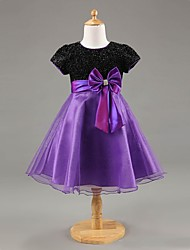 Girl's Round Collar Cute Bow Party Dress (More Colors)