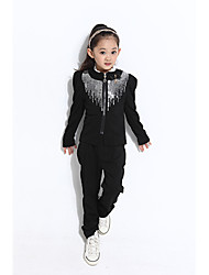 Langarm causual Mode runden Kragen Pailletten Temperament passt ac Kinder