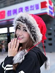 inverno ao ar livre lado coelho cabelo fashion dupla finalidade de malha chapéu de unisex