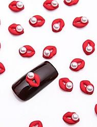 10pcs weiße Nagelkunstperlenschmuck glitzernden Metallic-Rot Schmuck für DIY Nagel-Design