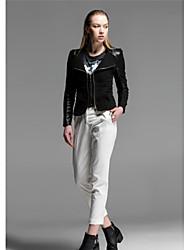 PU coutures manteau court veste de cuir femmes veste