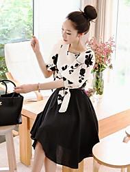Women's Dress , Cotton Blends Knee-length/Mini ½ Length Sleeve