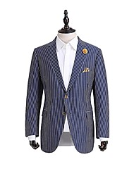 Marine bande adapté veste de costume en laine ajustement