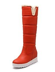 botas de los zapatos de nieve de las mujeres de la cuña de la rodilla botas altas talón con hebilla más colores disponibles