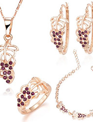 Z&X® European Style 18K Gold Plated Grapes Necklace Earrings Ring And Bracelets Jewelry Set (1 set)