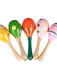 Wooden Ball Children Boby Toys Percussion Musical Instruments Sand Hammer E(Assorted Color)
