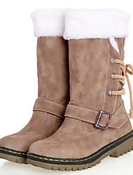 Women's Spring Winter Snow Boots Leatherette Casual Low Heel Bowknot Brown Beige